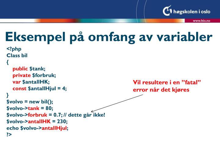 Eksempel på omfang av variabler