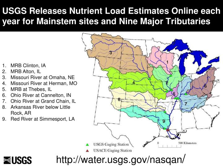 USGS Releases Nutrient Load Estimates Online each year for Mainstem sites and Nine Major Tributaries