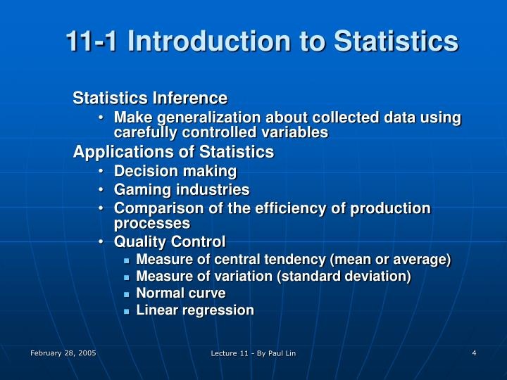11-1 Introduction to Statistics