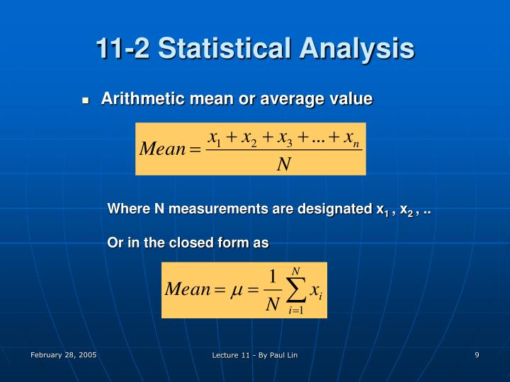 11-2 Statistical Analysis