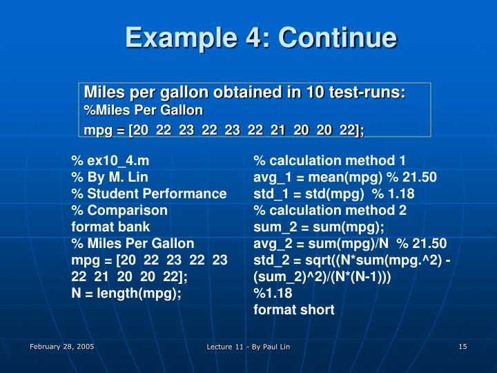 Example 4: Continue