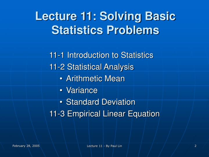 Lecture 11 solving basic statistics problems
