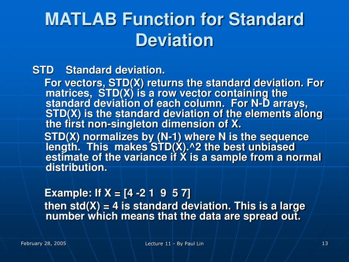 MATLAB Function for Standard Deviation