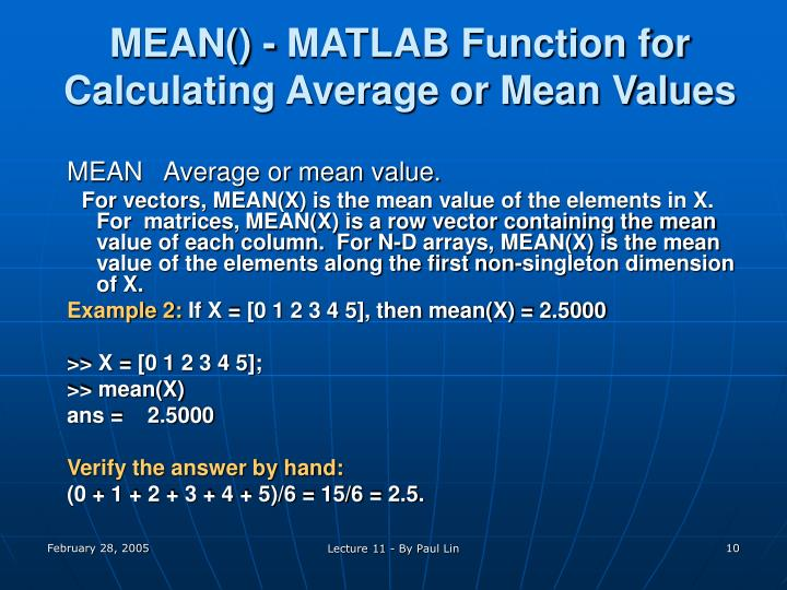 MEAN() - MATLAB Function for Calculating Average or Mean Values