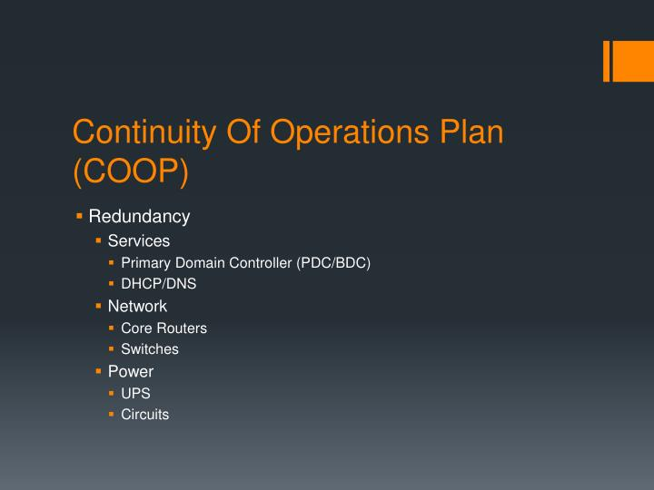 continuity of operations Continuity of operations, as defined in the national security presidential directive-51/homeland security presidential directive-20 (nspd-51/hspd-20) and the national continuity policy implementation plan, is an effort within individual executive departments and agencies to ensure that primary mission essential functions continue to be .