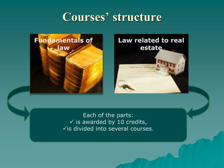 Courses' structure
