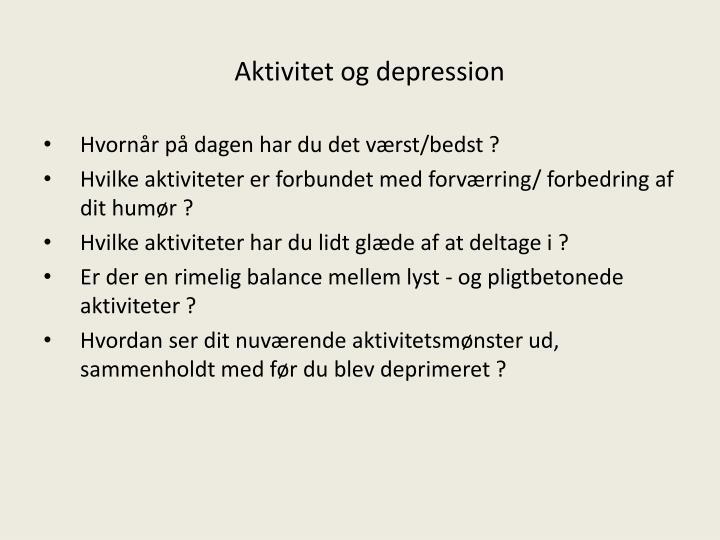 Aktivitet og depression