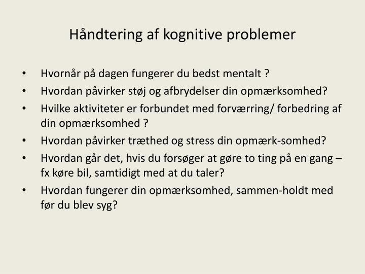 Håndtering af kognitive problemer
