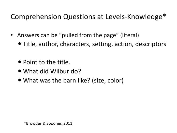 Comprehension Questions at Levels-Knowledge*