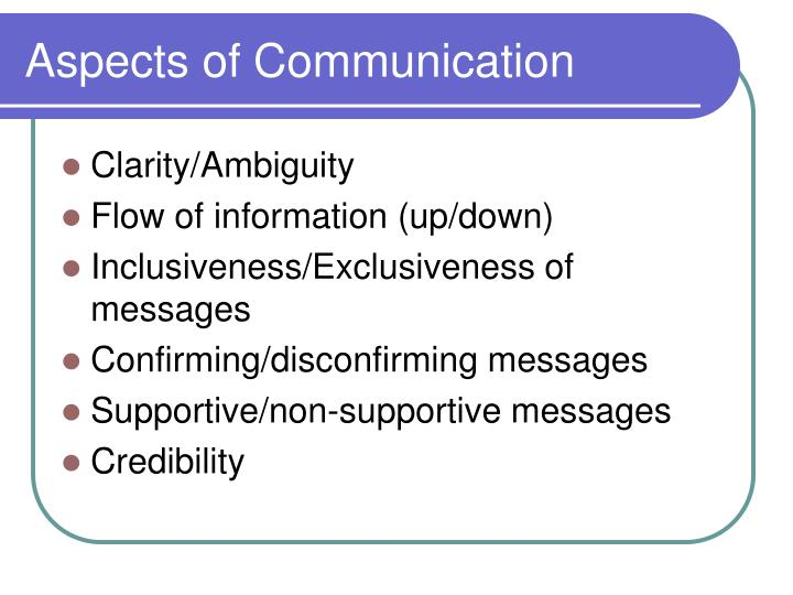 aspects of communication Aspects of communication by john khu article word count: 561 [view summary] comments (0) communication is the process of sharinginformation in a.