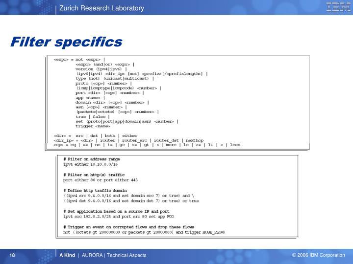Filter specifics