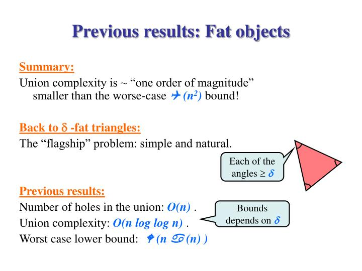 Previous results: Fat objects