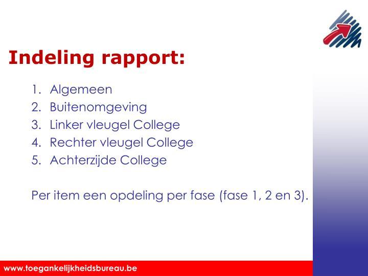 Indeling rapport:
