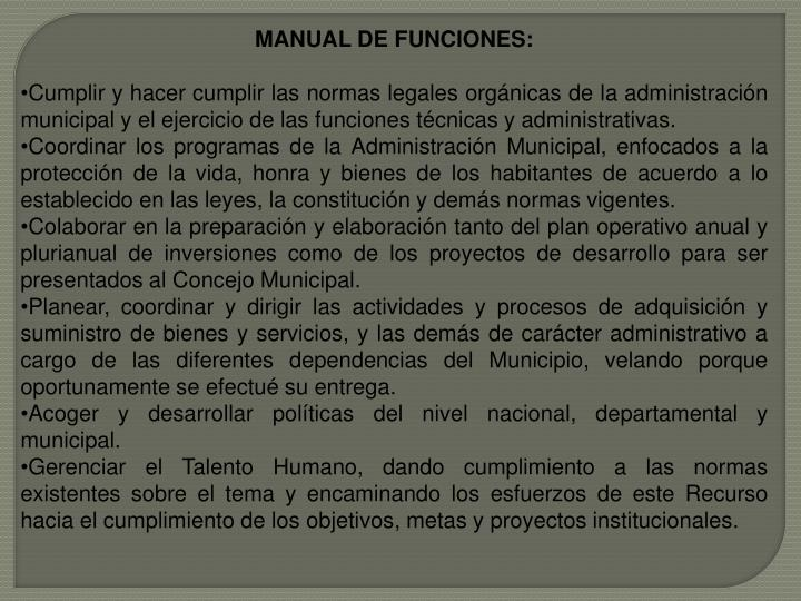 MANUAL DE FUNCIONES: