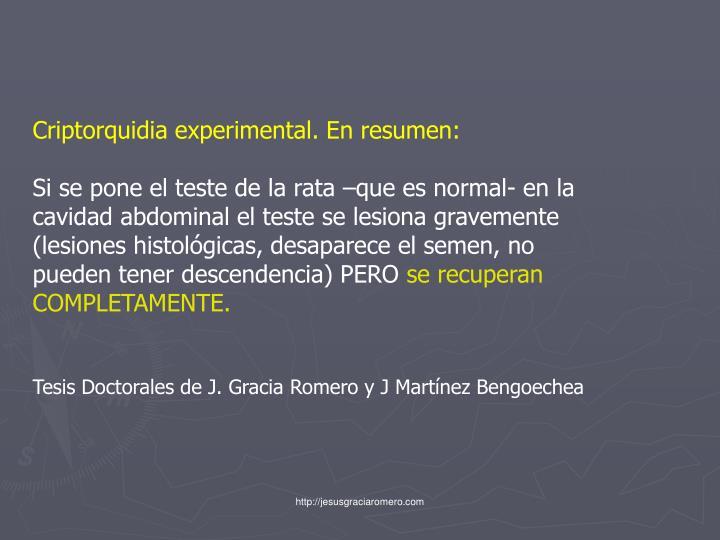 Criptorquidia experimental. En resumen: