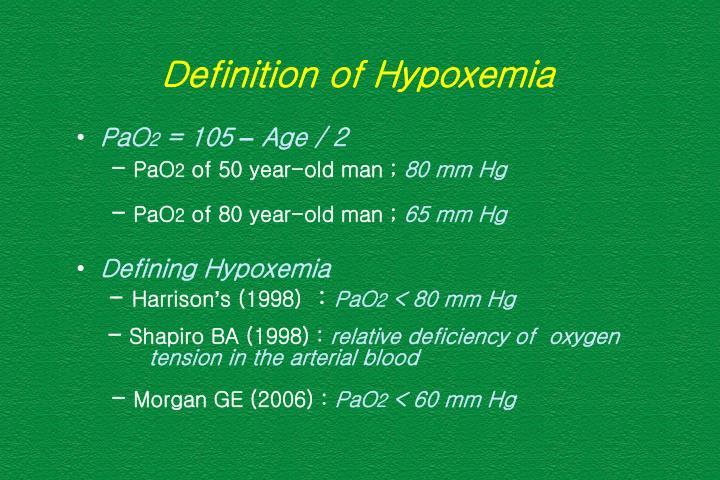 Definition of Hypoxemia