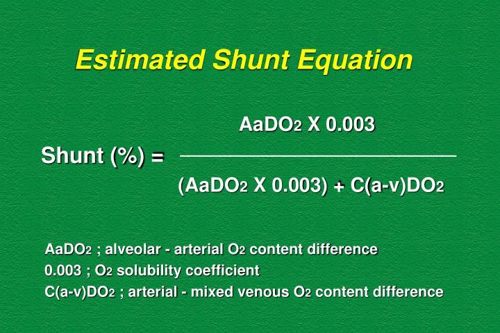 Estimated Shunt Equation