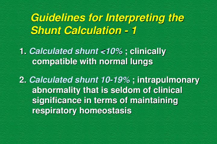 Guidelines for Interpreting the Shunt Calculation - 1