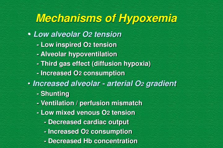 Mechanisms of Hypoxemia