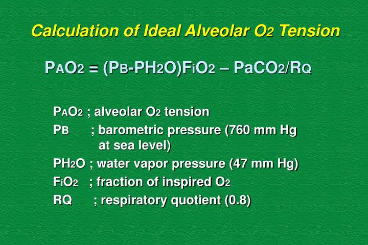 Calculation of Ideal Alveolar O