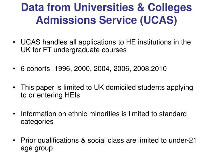 Data from Universities & Colleges Admissions Service (UCAS)