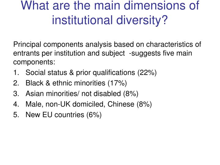 What are the main dimensions of institutional diversity?