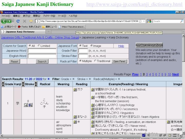 Saiga Japanese Kanji Dictionary