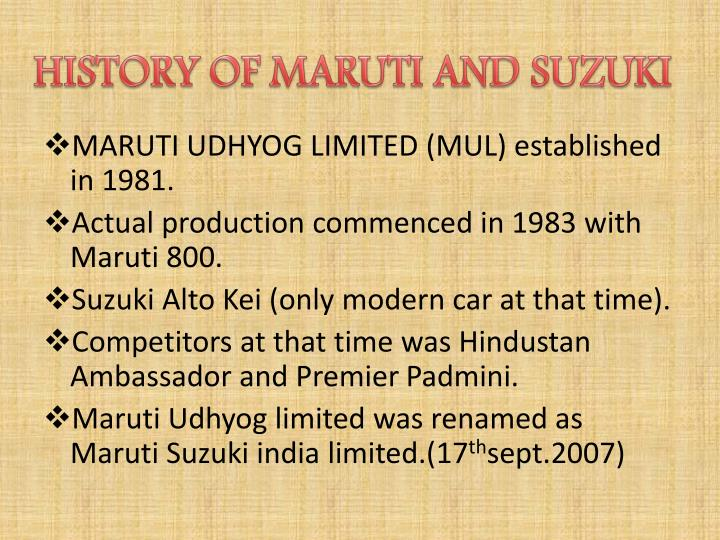 HISTORY OF MARUTI AND SUZUKI