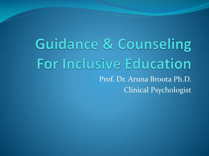 Guidance counseling for inclusive education