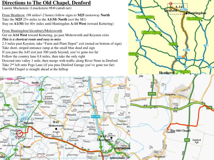 Directions to The Old Chapel, Denford