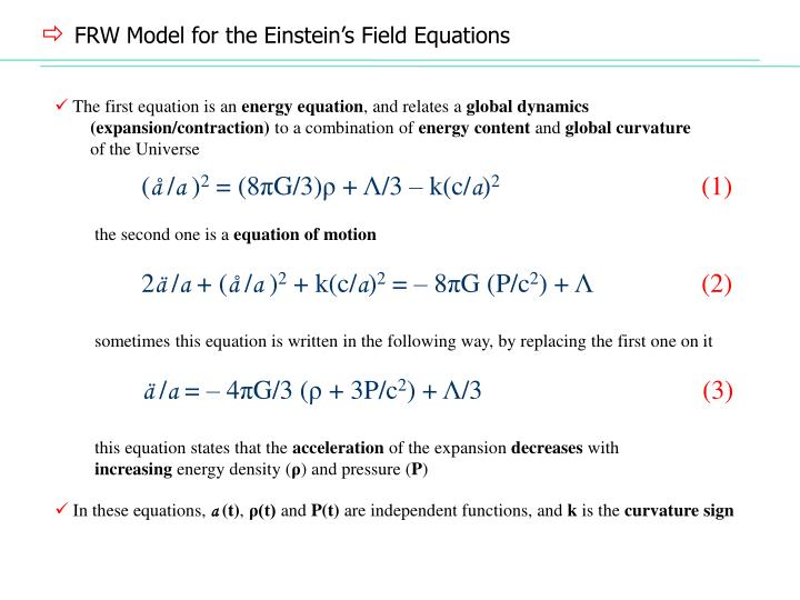 FRW Model for the Einstein's Field Equations