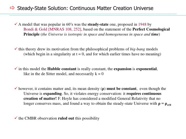 Steady-State Solution: Continuous Matter Creation Universe
