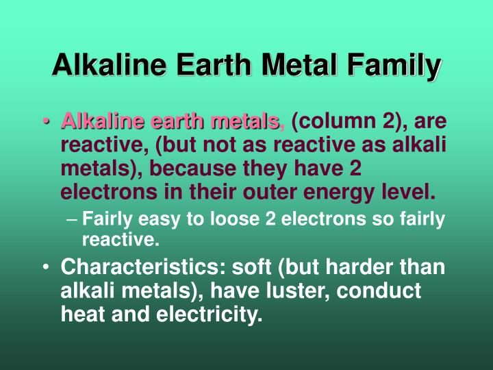 Alkaline Earth Metal Family