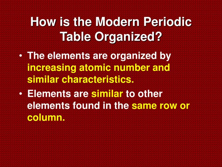How is the Modern Periodic Table Organized?
