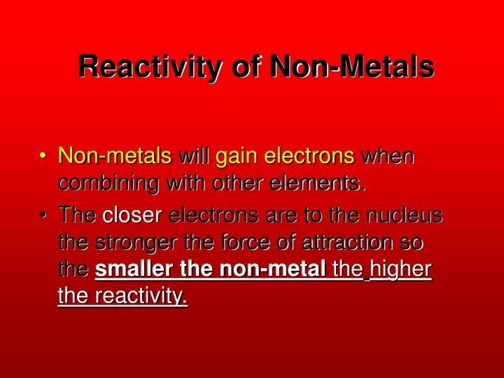 Reactivity of Non-Metals
