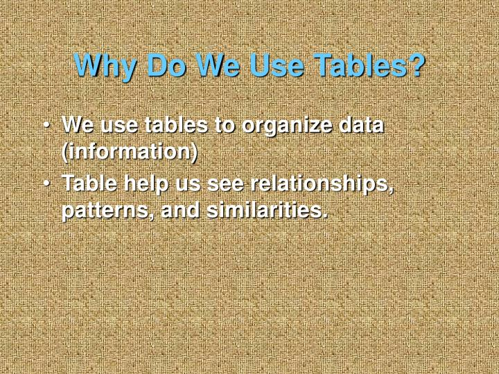 Why Do We Use Tables?