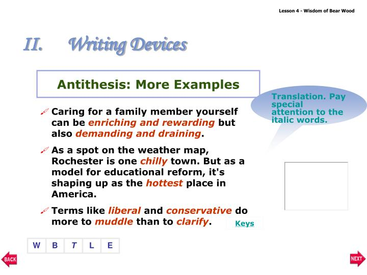 Antithesis: More Examples
