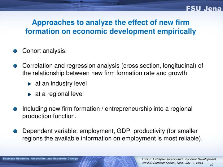 Approaches to analyze the effect of new firm formation on economic development empirically