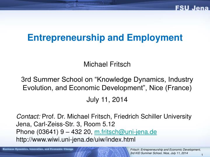Entrepreneurship and employment