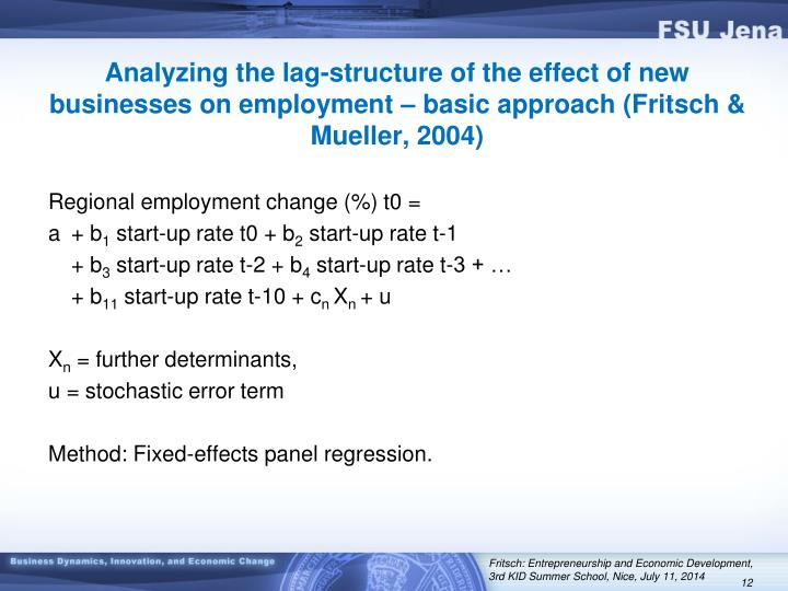 Analyzing the lag-structure of the effect of new businesses on employment – basic approach (Fritsch & Mueller, 2004)