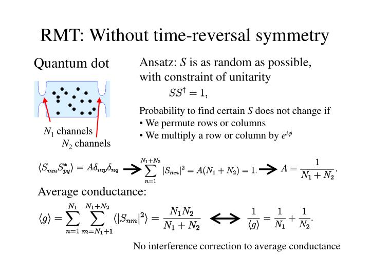 RMT: Without time-reversal symmetry