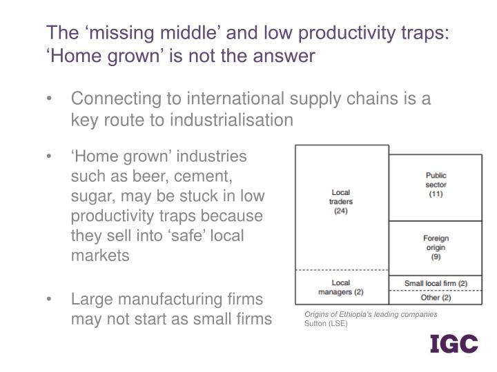 The 'missing middle' and low productivity traps: 'Home grown' is not the answer