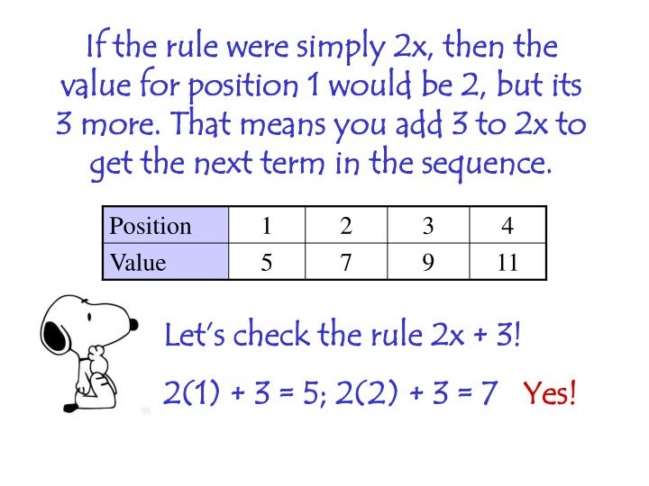 If the rule were simply 2x, then the value for position 1 would be 2, but its 3 more. That means you add 3 to 2x to get the next term in the sequence.