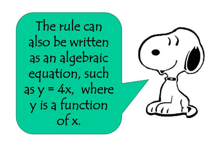 The rule can also be written as an algebraic equation, such as y = 4x,  where y is a function of x.