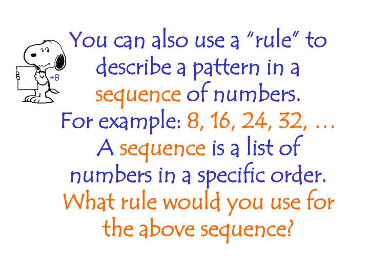 "You can also use a ""rule"" to describe a pattern in a"