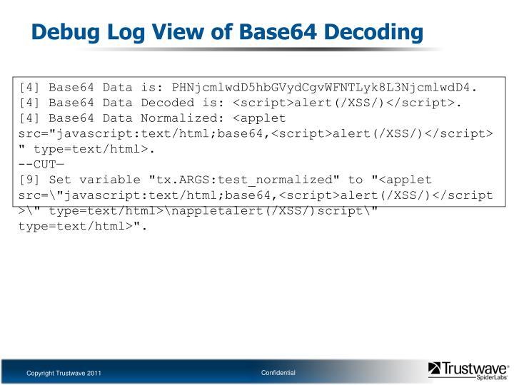 Debug Log View of Base64 Decoding