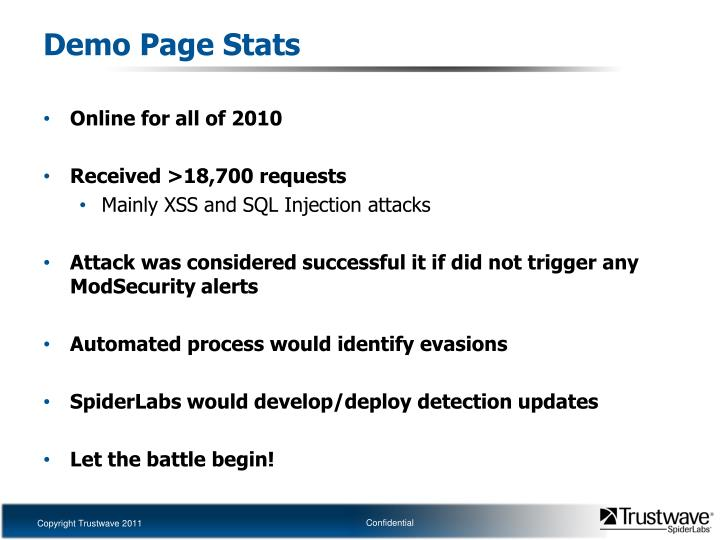 Demo Page Stats