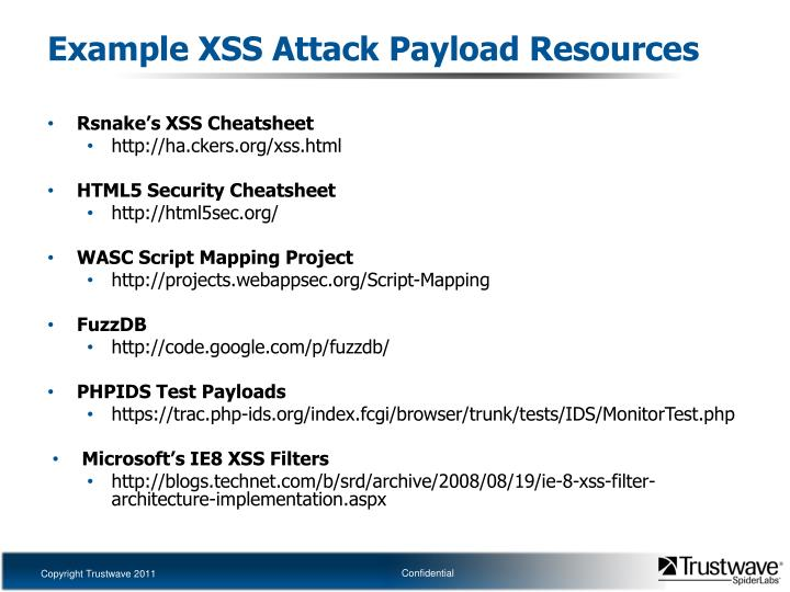 Example XSS Attack Payload Resources