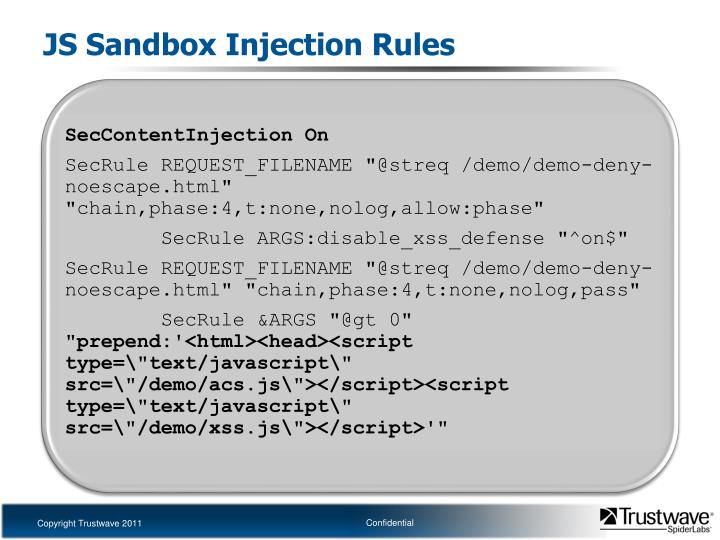 JS Sandbox Injection Rules