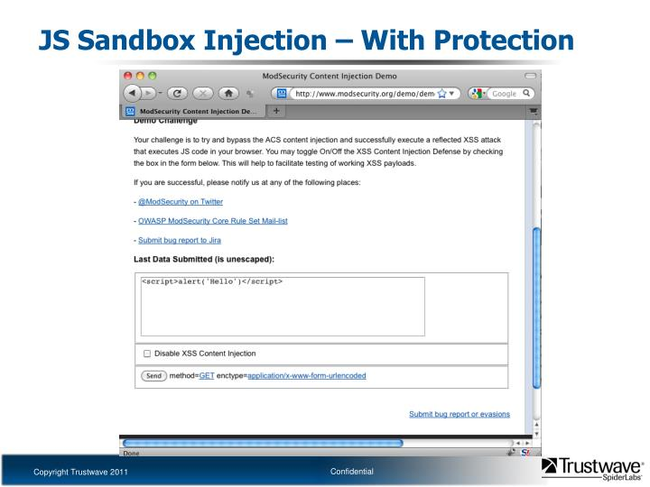 JS Sandbox Injection – With Protection
